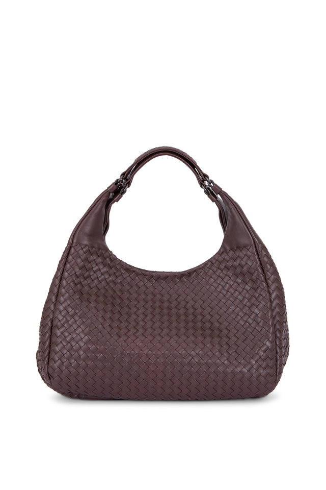Campana Brown Intrecciato Leather Large Hobo Bag