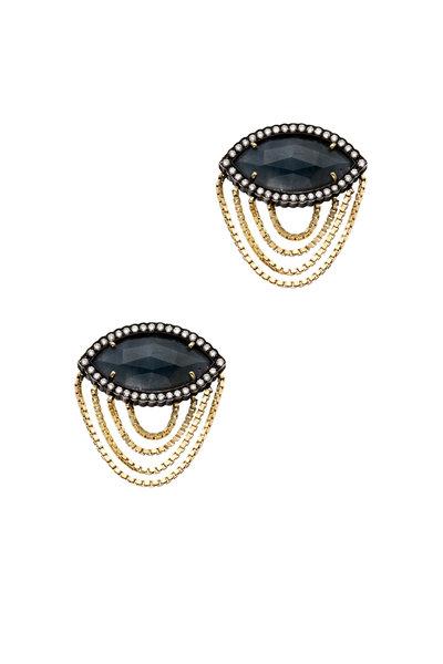 Sorellina - Gold Blue Sapphire Diamond Catana Earrings