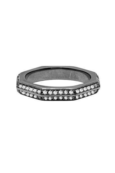 Sorellina - Oxidized Silver Diamond Stackable Ring