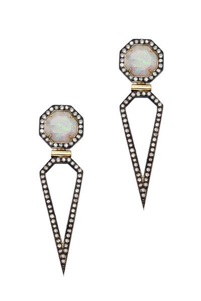 Sorellina - Otto Ray Gold Labradorite Diamond Earrings