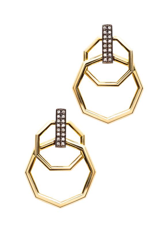 Sorellina Otto Gold Interlocking Octagon Diamond Earrings