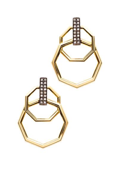 Sorellina - Otto Gold Interlocking Octagon Diamond Earrings