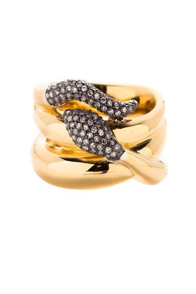 Sorellina - Gold & Silver Diamond Victoria Snake Ring