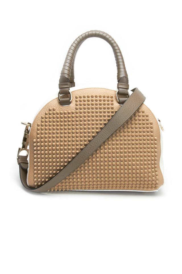 Beige Studded Shoulder Bag, Small