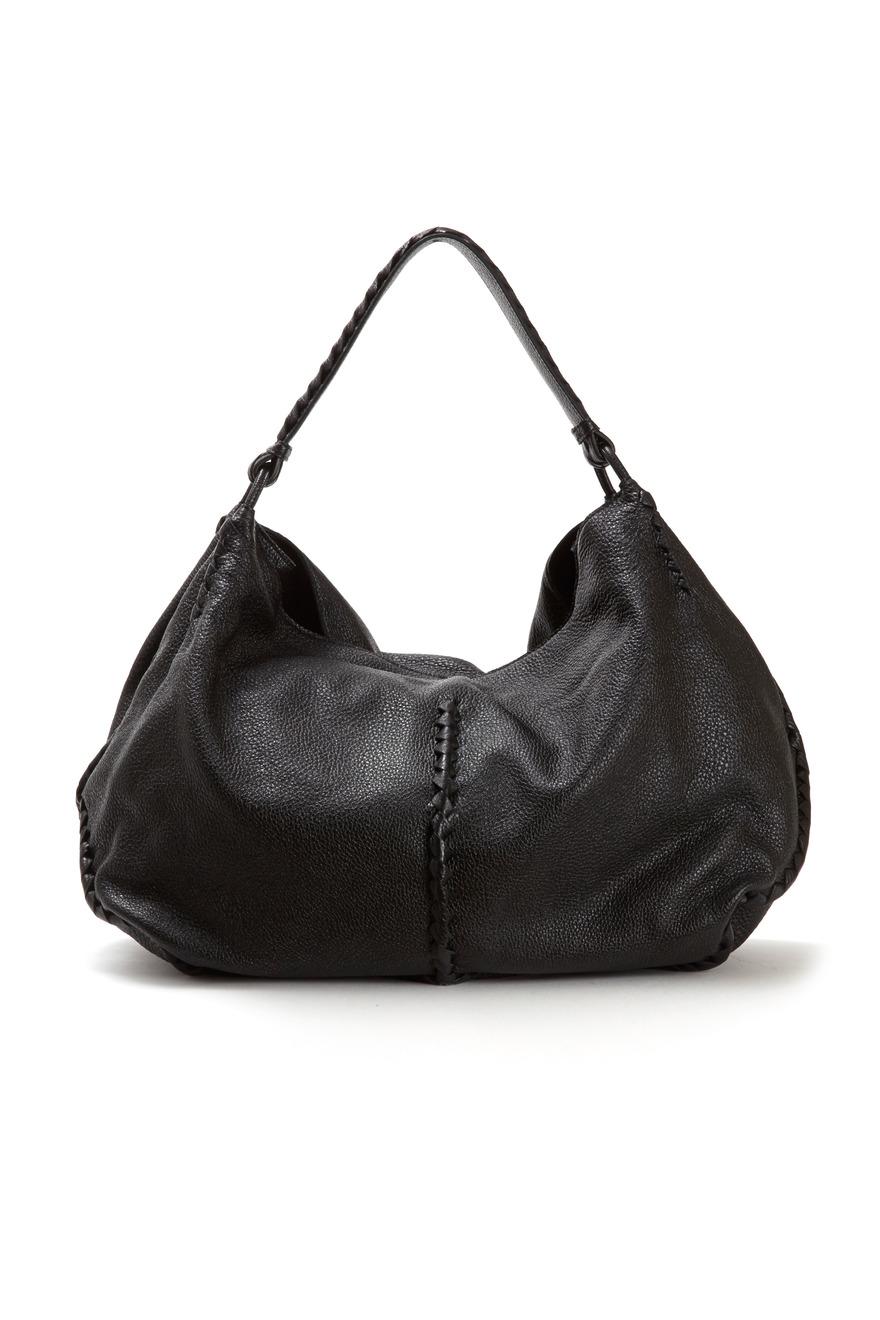 Black Washed Cervo Hobo Bag