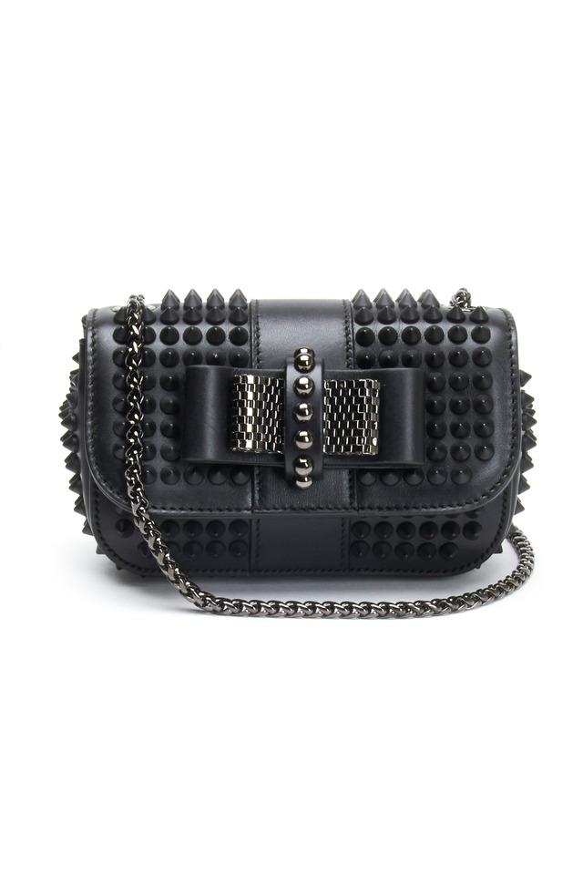 Mini Black Leather Stud Crossbody Handbag