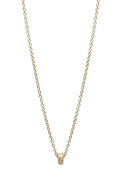 Caroline Ellen - 20K Yellow Gold Pavé Diamond Rondelle Necklace