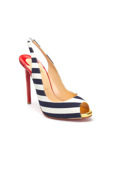 Christian Louboutin - Flo Blue & White Stripe Peep Toe Slingbacks