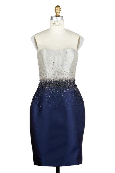 Reem Acra - Platinum & Navy Blue Silk Blend Illusion Dress