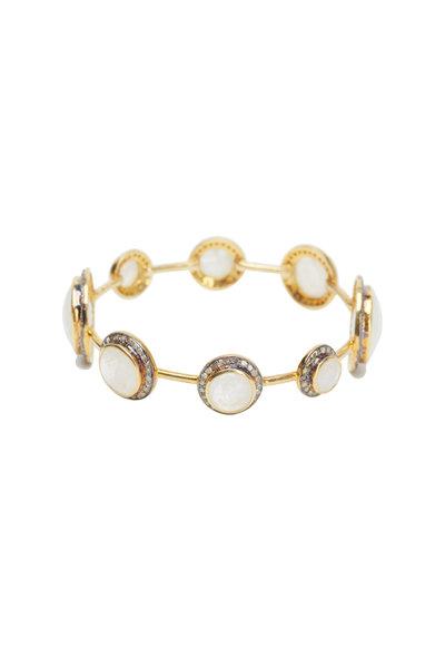 Loren Jewels - Sterling Silver Moonstone Diamond Bangle Bracelet