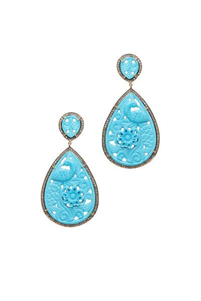 Loren Jewels - 14K Gold & Silver Turquoise Diamond Drop Earrings