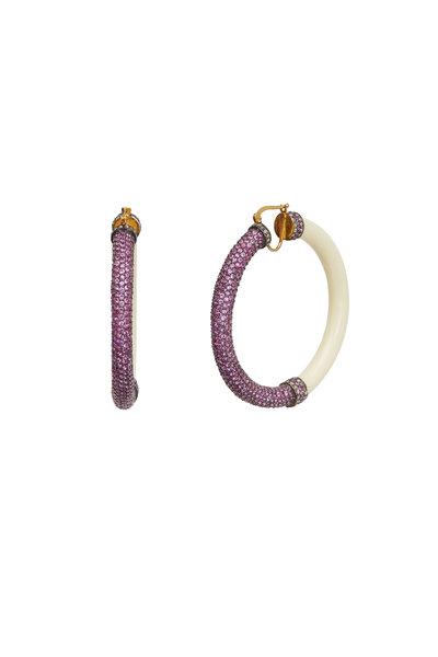 Loren Jewels - 14K Gold & Sterling Silver Pink Sapphire Hoops