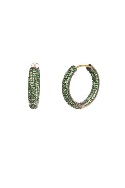 Loren Jewels - 14K Gold & Silver Pavé Tsavorite Hoops