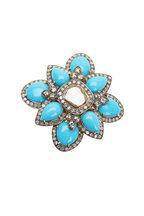 Loren Jewels - 14K Gold & Silver Diamond & Turquoise Flower Ring