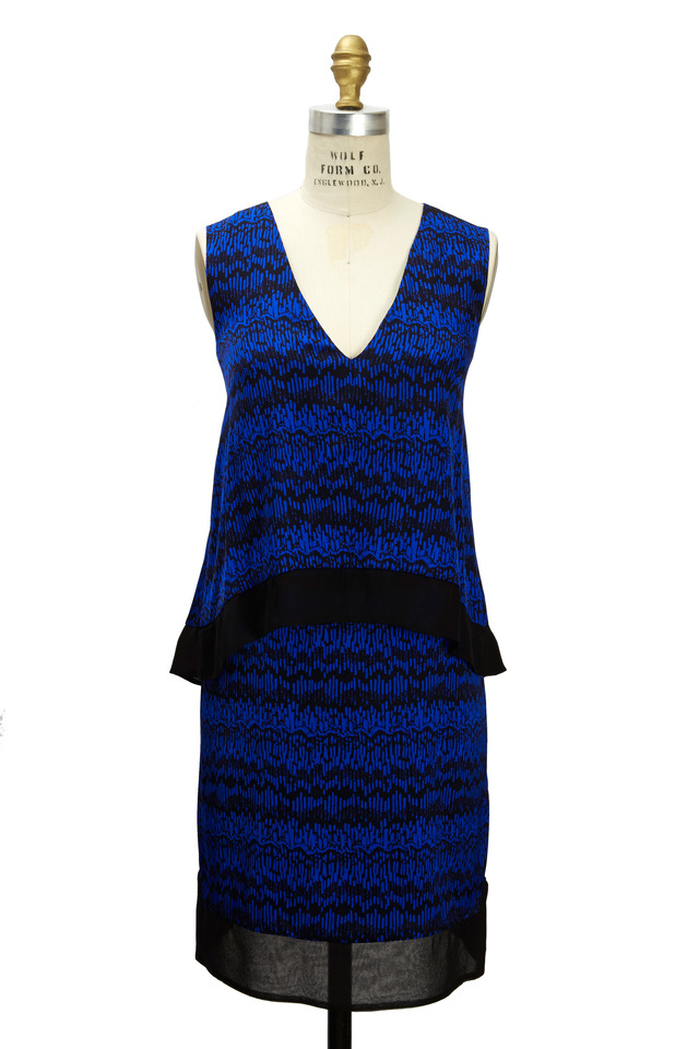 Blue & Black Silk Dress
