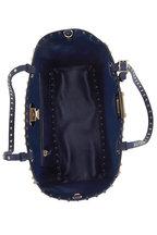 Valentino Garavani - Rockstud Navy Blue Jacquard Small Tote