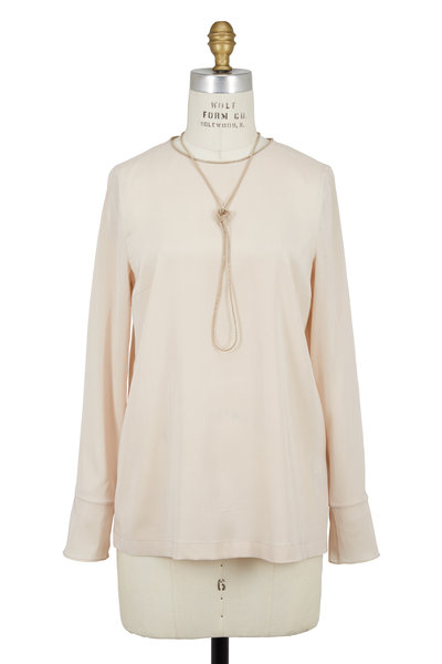 Brunello Cucinelli - Orzo Silk Blouse With Gold Monilli Necklace