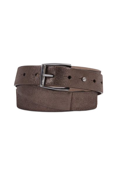 Brunello Cucinelli - Metallic Gunmetal Leather Long Loop Belt