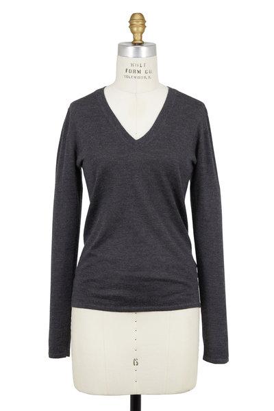 Brunello Cucinelli - Volcano Cashmere & Silk Long Sleeve V-Neck Sweater