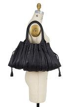 Lupo - Abanico Black Leather Pleated Shoulder Bag