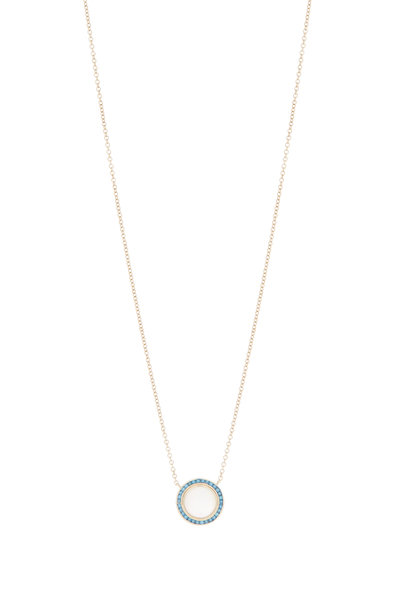 Syna - Maya Moon Quartz Blue Diamond Pendant Necklace