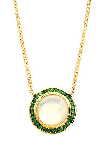 Syna - Maya Moon Quartz Green Tsavorite Pendant Necklace