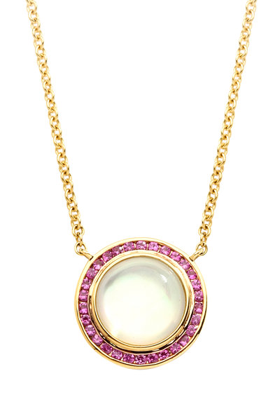 Syna - Maya Moon Quartz Pink Sapphire Pendant Necklace