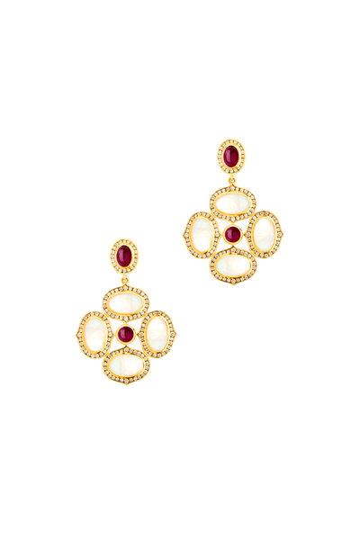 Syna - 18K Yellow Gold Moonstone, Diamond & Ruby Earrings