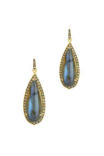 Syna - Gold Labradorite Champagne Diamond Dangle Earrings