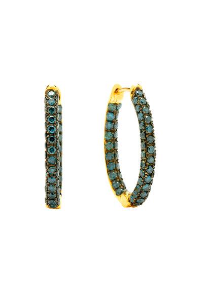Syna - Yellow Gold Blue Diamond Oval Hoop Earrings