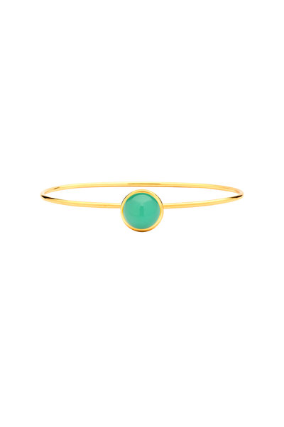 Syna - Baubles Yellow Gold Chrysoprase Bangle Bracelet