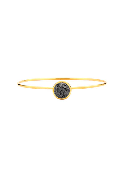 Syna - Baubles Yellow Gold Black Diamond Bangle Bracelet