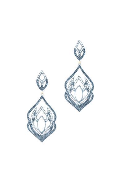 Loriann - Gold Spinel Moonstone Diamond Dangle Earrings