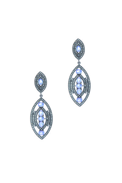 Loriann - Gold Tanzanite White Diamond Earrings