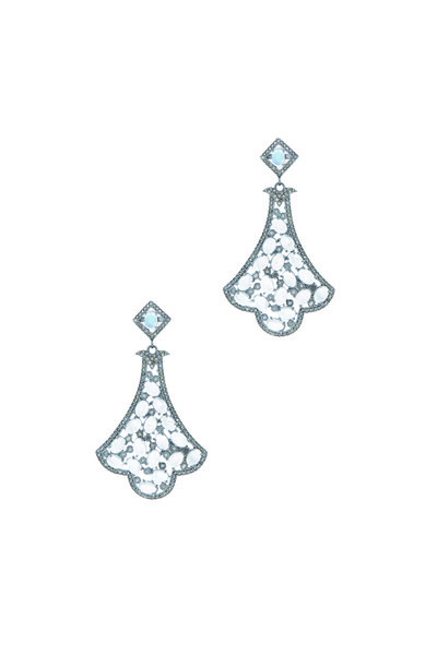 Loriann - Gold Moonstone Diamond Scalloped Earrings