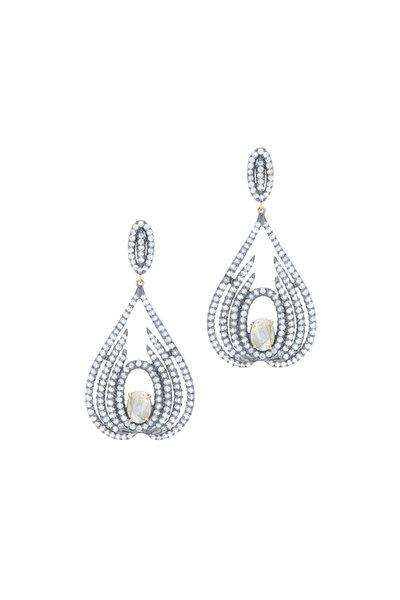 Loriann - Gold Labradorite Diamond Dangle Earrings