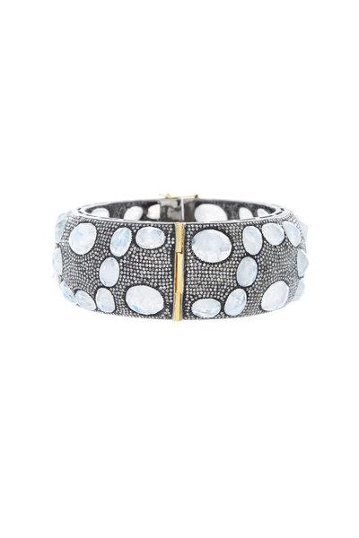 Loriann - Silver Moonstone Diamond Bangle Cuff Bracelet