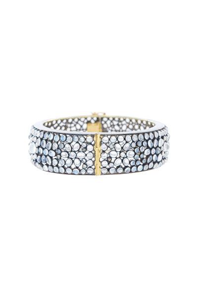 Loriann - Sterling Silver Moonstone Bangle Cuff Bracelet