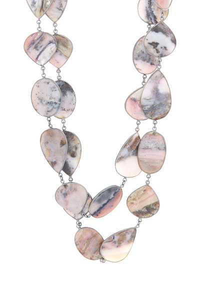 Loriann - Sterling Silver Pink Opal Necklace