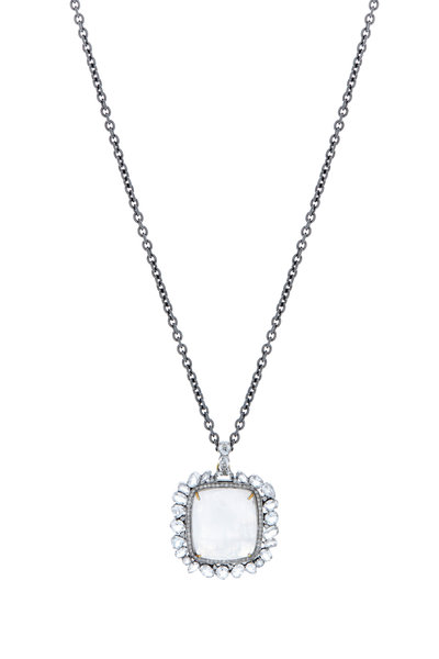 Loriann - Gold & Silver Moonstone Diamond Pendant Necklace