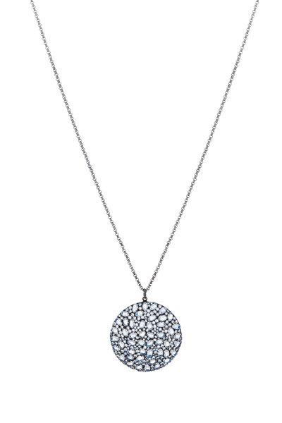 Loriann - Gold Moonstone Diamond Moon Pendant Necklace