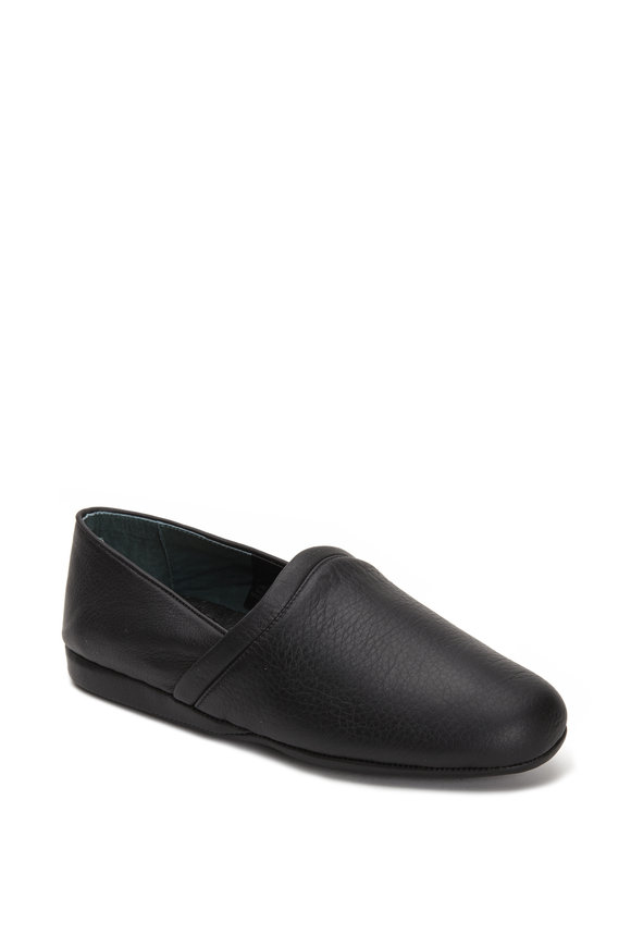 LB Evans Aristocrat Opera Black Leather Slipper