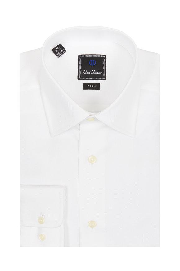 David Donahue White Textured Trim Fit Dress Shirt