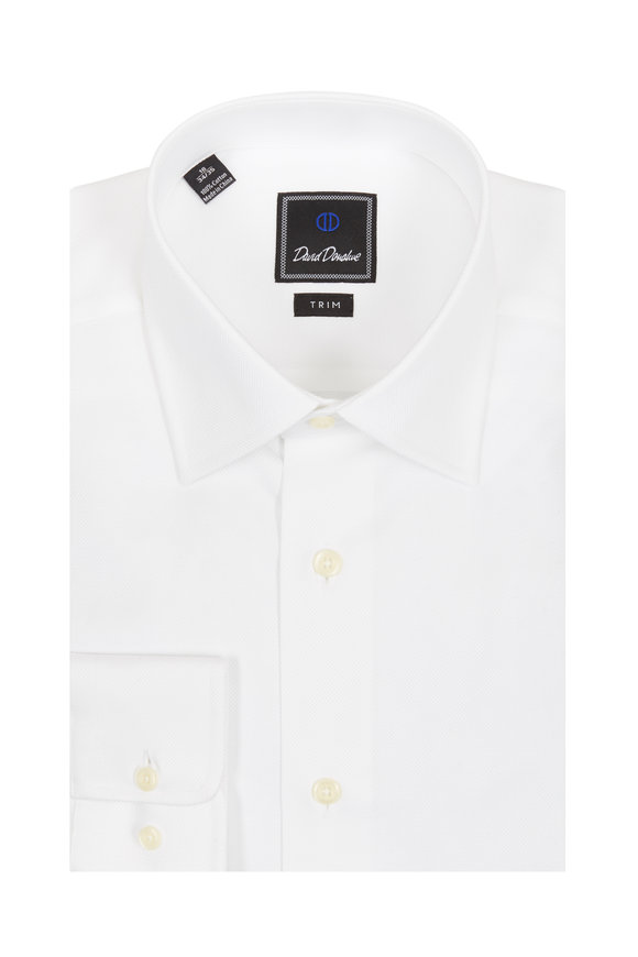 David Donahue White Textured Trim Fit Dress Shirt
