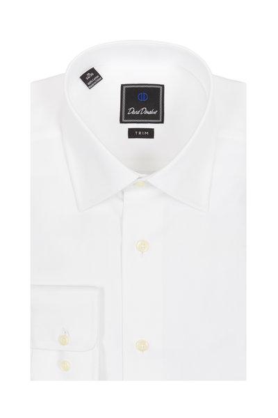 David Donahue - White Textured Trim Fit Dress Shirt