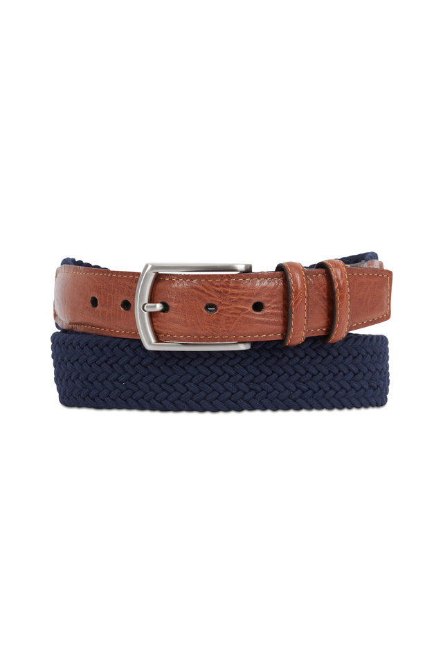 Navy Blue Cotton Elastic & Leather Belt