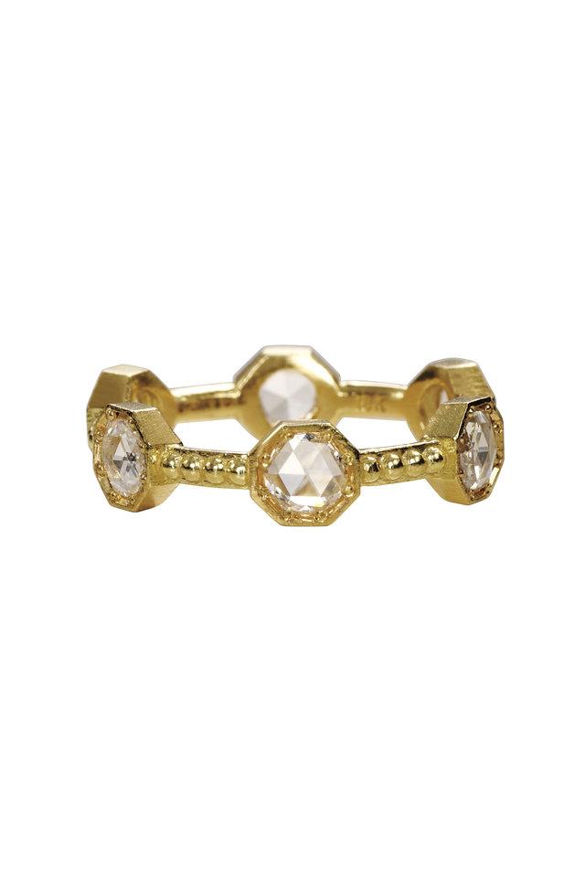 18K Yellow Gold Rose Cut Diamond Caviar Band