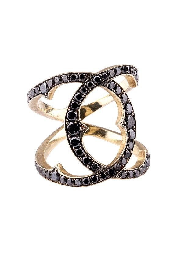 Sylva & Cie 18K Yellow Gold Black Diamond Coco Ring