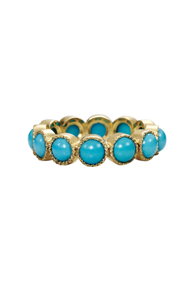 Yellow Gold Turquoise Band