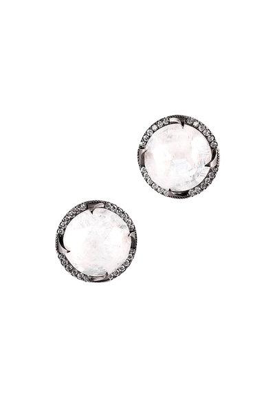 Sylva & Cie - Moonstone & Diamond Stud Earrings